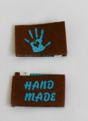 10 Handmade Woven Labels Sewing Fabric Label Handmade with Love brown blue
