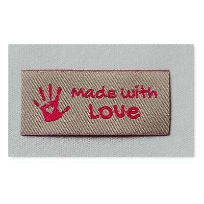 10 Handmade Woven Labels Sewing Knitting Labels Handmade with Love In pink grey