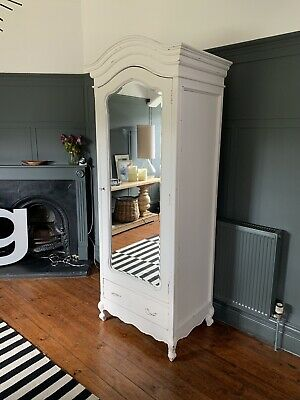 Antique Style French Armoire Wardrobe Shabby chic Off White