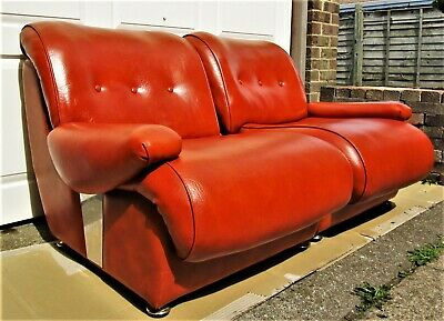 Vintage Mid 20th Century Orange Vinyl 2 Seater Sofa Side by Side Chairs