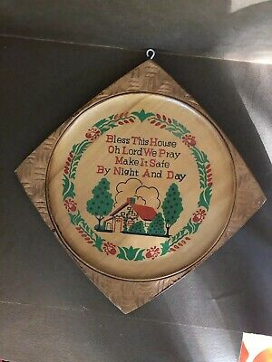"Vintage ""Bless This House "" Wood Plaque Wall Sign - Ucagco Made In Japan"