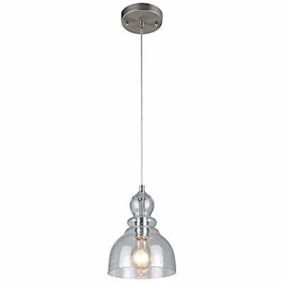 Industrial Pendant Light Fixture Seeded Glass Kitchen Island Brushed Nickel NEW.