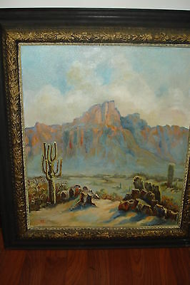 """Oil/Canvas, Signed Monogram, """"Western Scene With Cactus & Mountains"""" Circa 1920"""
