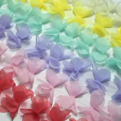 3D Rose Flower Petals Butterfly Chiffon Lace Trimming Bridal - Choice Of Colour