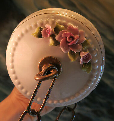 ceiling Canopy part Vintage porcelain lamp chandelier Pink Rose French beaded