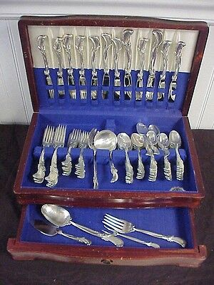 """Wallace """"Waltz of Spring"""" Sterling Silver Flatware Set w chest 78 piece"""