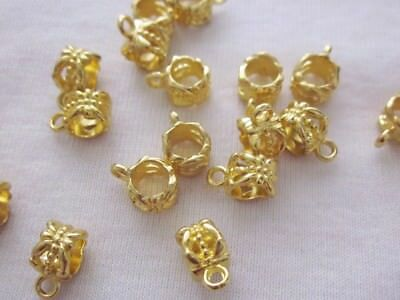 10 Gold Coloured Charm Pendant Bails 6mmx10mm #2757 Jewellery Making