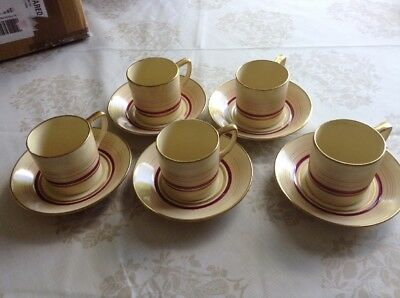 Gray's Pottery Susie Cooper Sunbuff Banded Coffee Cans/Saucers 1930's, Rare x5