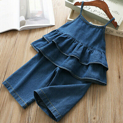 Toddler Baby Kids Girls Denim Strap Ruffles Tops Solid Jeans Casual Outfits Q