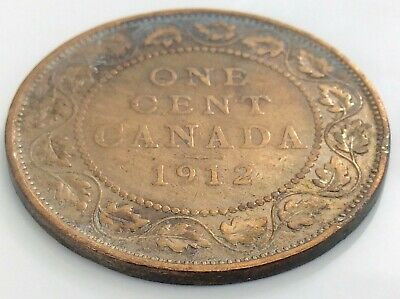 1912 Canada One 1 Cent Copper Large Penny Canadian George V Circulated Coin J843