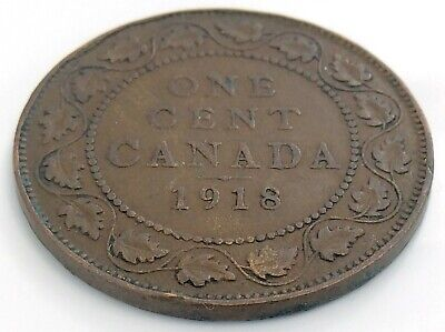 1918 Canada One 1 Cent Copper Large Penny Canadian George V Circulated Coin J845