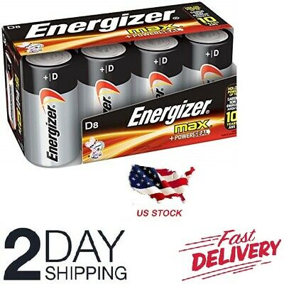 Energizer D Cell Batteries, Max Alkaline D Battery Size, (8 Count), Clear New