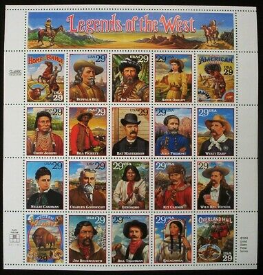 1994 Legends Of The West Full Mint Sheet / Scott # 2869 / Mnh