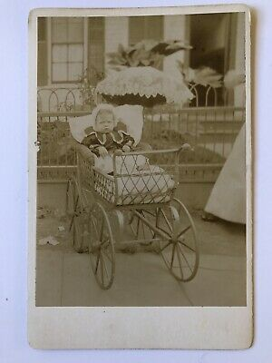 Cabinet Card Photo Baby Girl In Buggy Pram Carriage Outside Antique