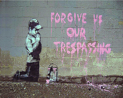 Banksy graffiti Street Art Forgive us our Trespassing 16 x 20 inch Canvas Print