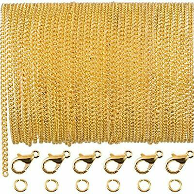 33ft Gold Chain Link Necklace Jump Rings Clasps DIY Jewelry Making Craft