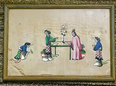 Large Antique Chinese Hand Painted Watercolour On Rice Pith Paper