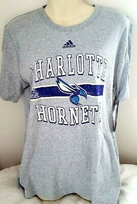 056c49c5 CHARLOTTE HORNETS Youth T Shirt Size XL 18 Adidas Distressed Logo Gray New