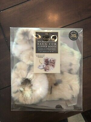 e0108247f NEW Aroma Home Luxury Microwaveable Faux Fur Slipper Boots Ladies 6.5 - 9.5  Warm