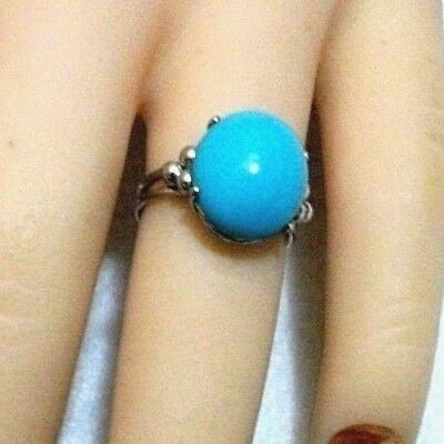Vintage First Quality Solid 14k White Gold Natural Turquoise Ring 2.5g Sz 5.5