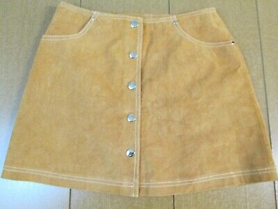 254f3e317 Forever 21 Women's Tan Brown Leather Suede Snap Button Front Mini Skirt  Size 26