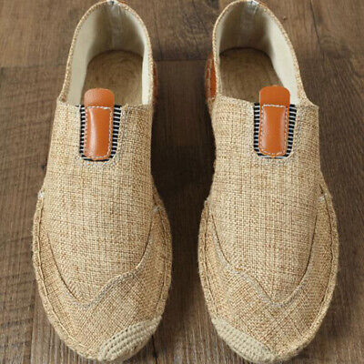 Mens Linen Slip On Breathable Flat Loafers Casual Comfy Summer Fabric Shoes HOT