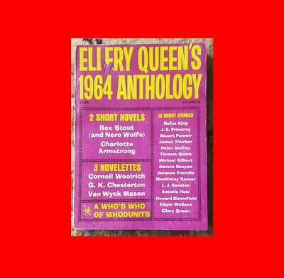 ☆GD RARE BOOK^ELLERY QUEEN 1964 ANTHOLOGY 300pp CHANDLER WOLFE CHRISTIE THURBER☆