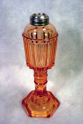 Vintage PINK DEPRESSION Glass OIL Table Desk LAMP Base OPTIC Elegant KEROSENE