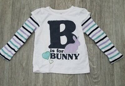 """Old Navy Girl's """"B is for Bunny"""" Striped Long Sleeve T-shirt Size 2T"""