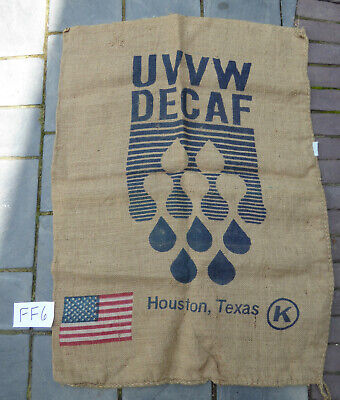 Texas UVVW Decaf Coffee Bean Jute Burlap Sack Bag Flag - Decorating Crafts