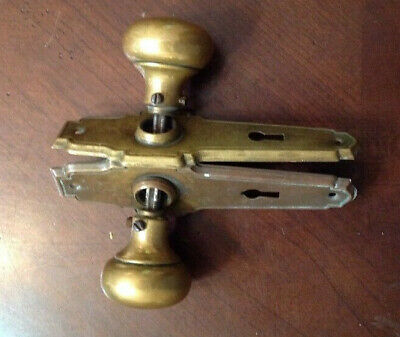 Antique Vintage Brass Door Knob set with two Back Plates