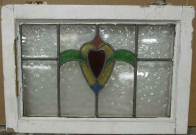 "MIDSIZE OLD ENGLISH LEADED STAINED GLASS WINDOW Abstract Heart 23.5"" x 16.25"""