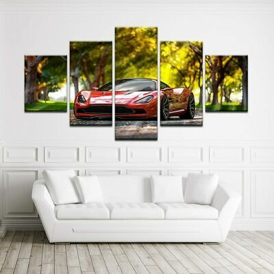 Awesome Red Car Poster Dream Car Wall Art Motivation Home Decor 5pc Canvas Print