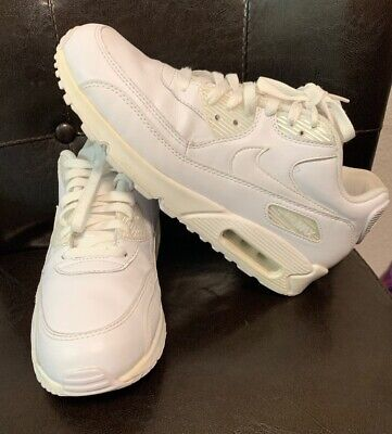 Nike AIR MAX 90 Leather White 302519-113 MENS SIZE 8.5 Excellent Condition