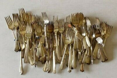 Mixed Lot of 100 Vintage/Antique Silverplate Salad Forks -Crafts, Resale, Use