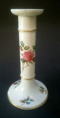 Antique Minton Porcelain Candlestick Candle Holder Rose Decoration