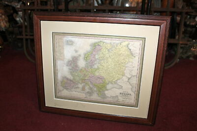 Antique 1850 Map Of Europe Thomas Cowperthwait & Co. Framed Map Europe