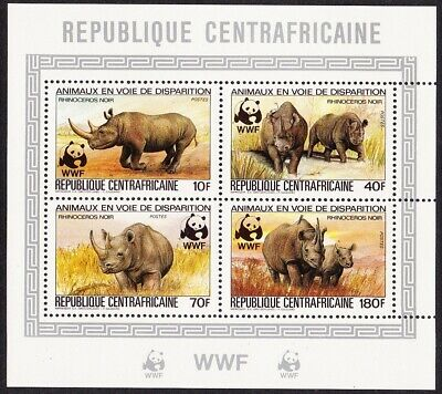 Central African Rep. WWF Black Rhinoceros De-Luxe Combined MNH MI#985-988A KB