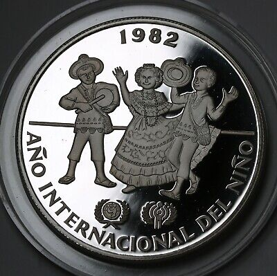1982 Panama 10 Balboas Silver Proof Coin Year of the Child GEM UCAM KM# 79
