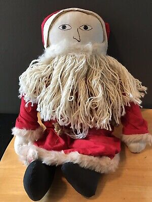 Vintage Folk Art Primitive Santa Claus Plush Santa Hand Painted Face Handmade