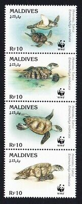 Maldives WWF Hawksbill Turtle strip of 4v MNH SG#2297-2300 MI#2420-2423 SC#2092