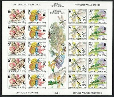 Serbia and Montenegro WWF Endangered Insects Butterflies Dragonfly Imperf Sheet