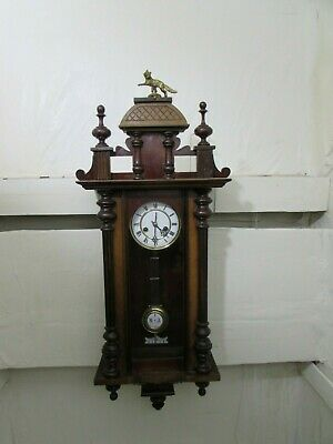 Antique Badische Uhrenfabrik Vienna Style Walnut Wall Clock, Bronze Fox Finial