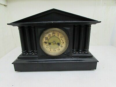 Antique Ebonised Wooden Cased American Striking Mantel Clock For Repair