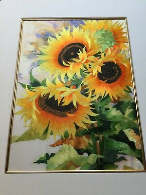 Mounted Silk embroidery of Sunflowers  on silk with embroidery