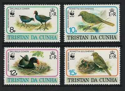 Tristan da Cunha Birds WWF Gough Moorhen and Gough Bunting 4v MNH SG#518-521