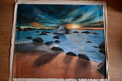 Art Beautiful Hand Painted Canvas Sea Sunset On A Boat 69x59cm