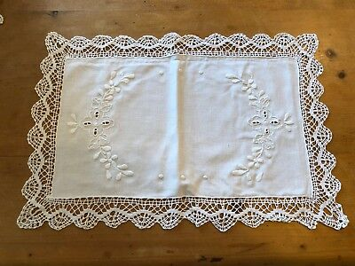 "BRAND NEW RECTANGULAR WHITE 16.25"" x 11.25"" 100% COTTON TRADITIONAL PLACEMAT"