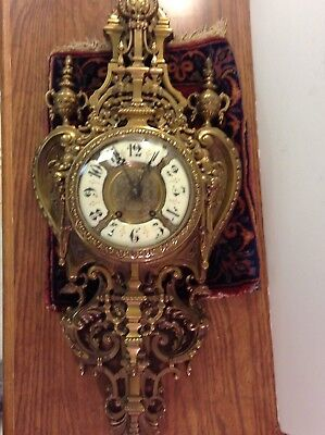 "ANTIQUE French GOTHIC BRONZE CARTEL Cathedral LARGE 32"" wall clock HEAVY!"