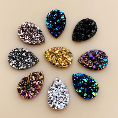 50PCS 10*14mm Bling AB Colors Mineral Surface Resin Rhinestone Flatback Cabochon